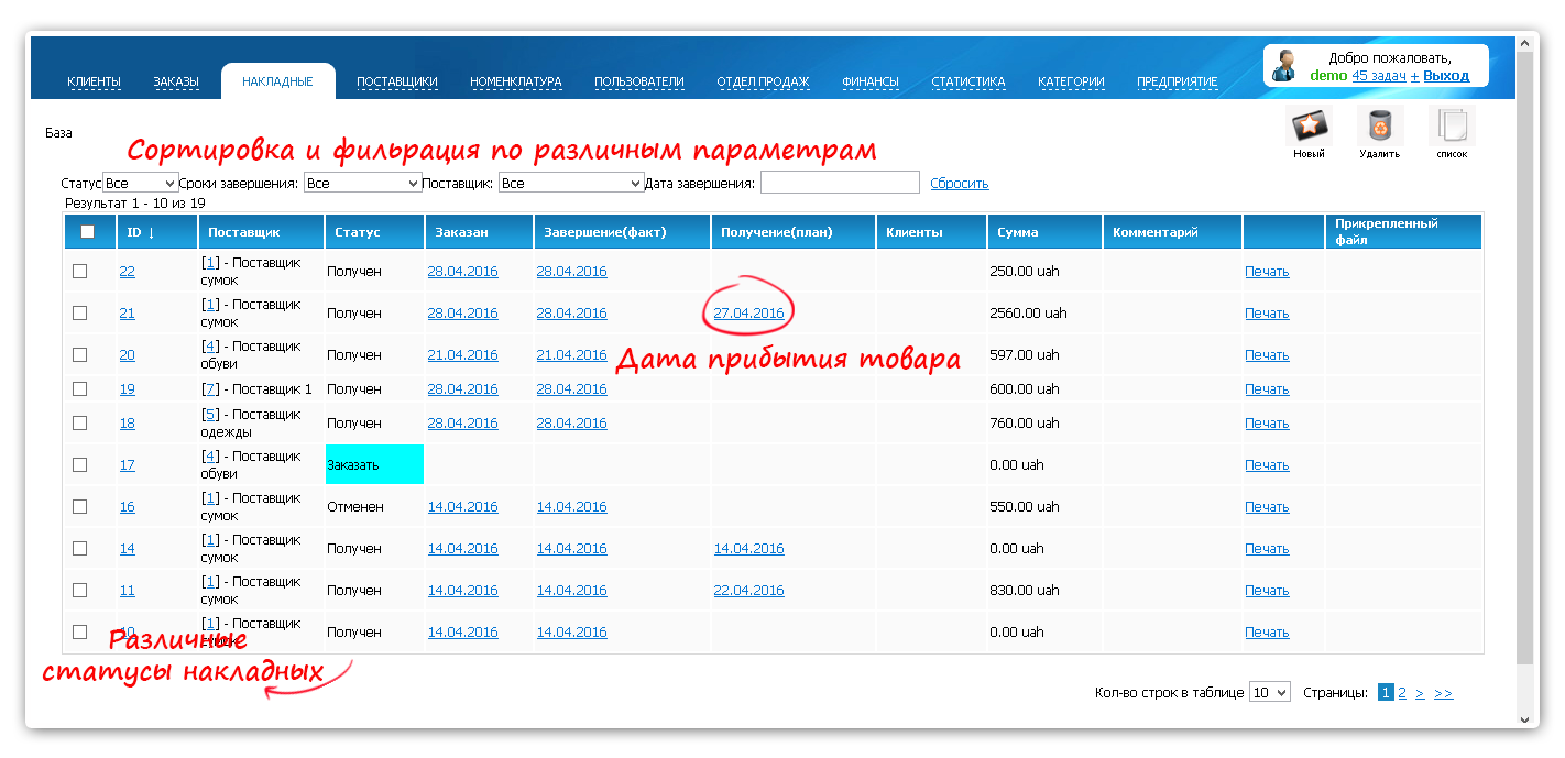 Приходные накладные имеют различные статусы. Фиксируется дата предположительного прибытия товара на склад. Удобный интерфейс и несколько вариантов сортировки и фильтрации накладных.